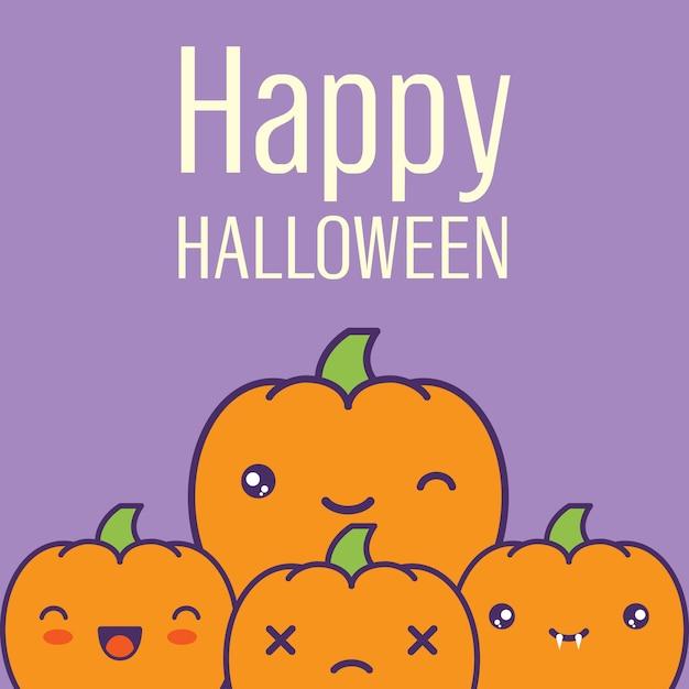 Cartão de halloween com ilustração do vetor das abóboras do kawaii. Vetor Premium