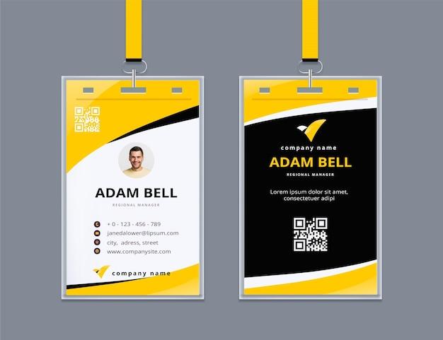 Cartão de identificação abstrato com foto Vetor grátis