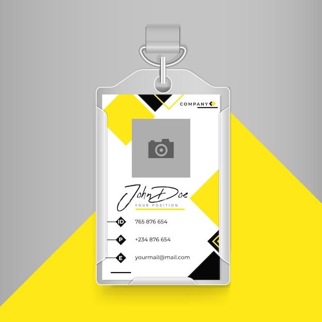 Cartão de identificação comercial em amarelo e preto com cores brancas Vetor grátis
