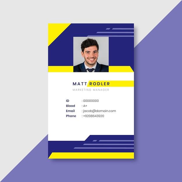 Cartão de identificação de negócios com formas minimalistas Vetor grátis