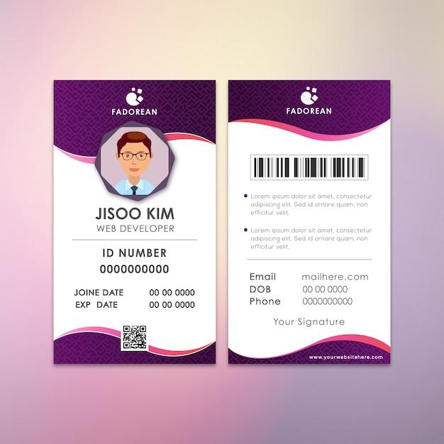 Cartão de identificação de peça criativa do desenvolvedor da web kim Vetor Premium