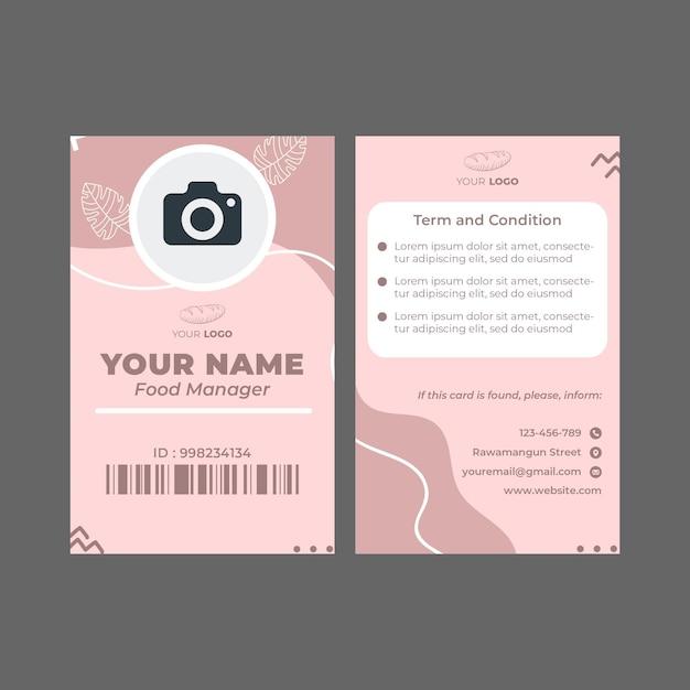 Cartão de identificação do modelo de anúncio de padaria Vetor Premium