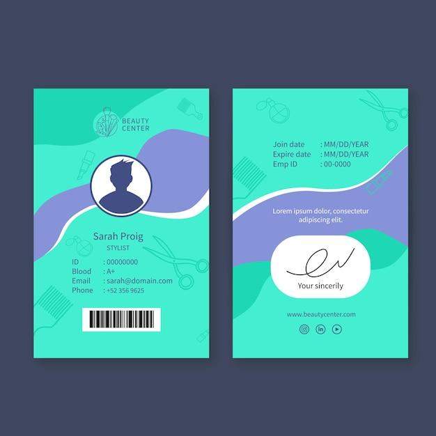 Cartão de identificação do salão de beleza Vetor grátis