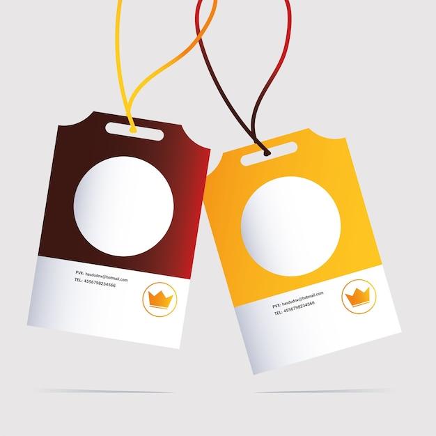 Cartão de identificação, modelo de identidade corporativa na ilustração de fundo branco Vetor Premium