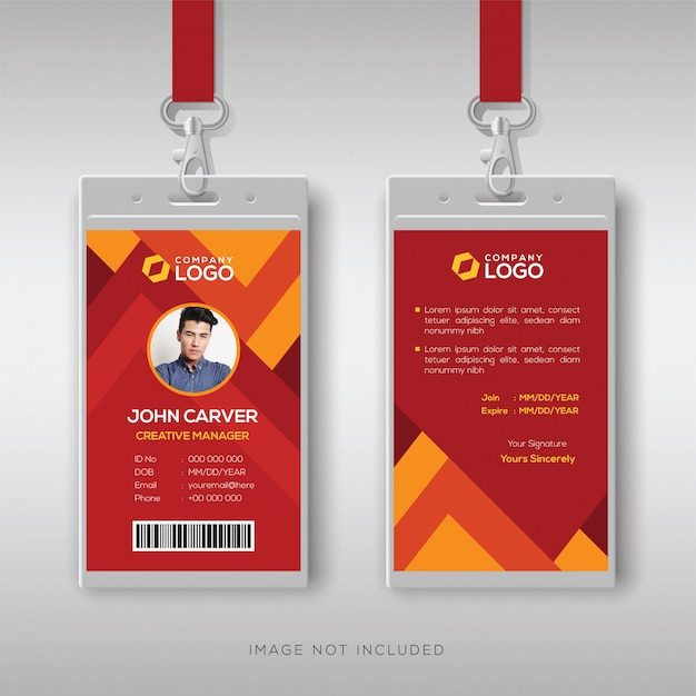 Cartão de identificação moderna com fundo abstrato Vetor Premium