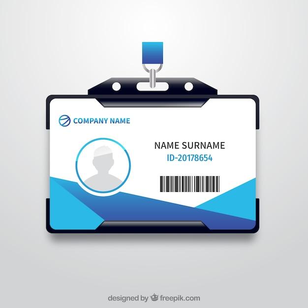Cartão de identificação realista com suporte de plástico Vetor grátis