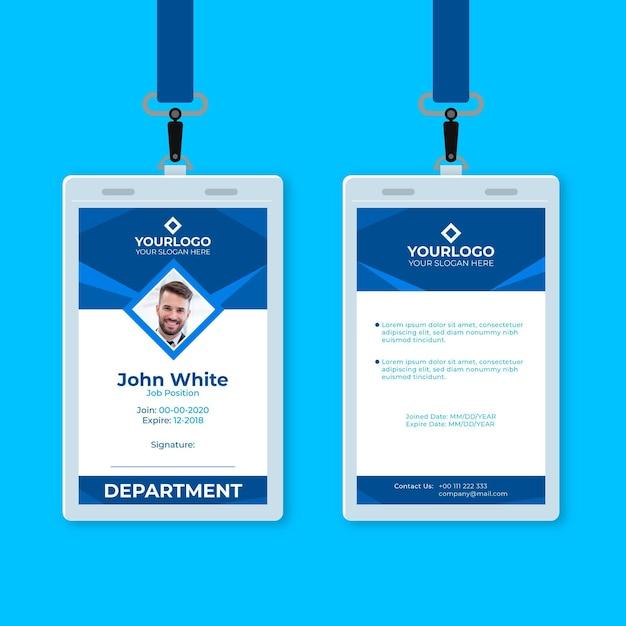 Cartão de identificação vertical abstrato azul Vetor grátis