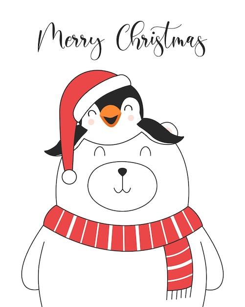 Cartão de ilustração engraçada de feliz natal com urso polar e pinguim. Vetor grátis