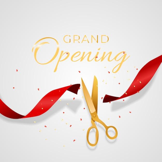 Cartão de inauguração com fundo de fita e tesoura Vetor Premium