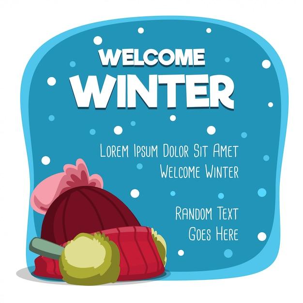 Cartão de inverno bem-vindo dos desenhos animados com modelo de chapéu quente Vetor Premium