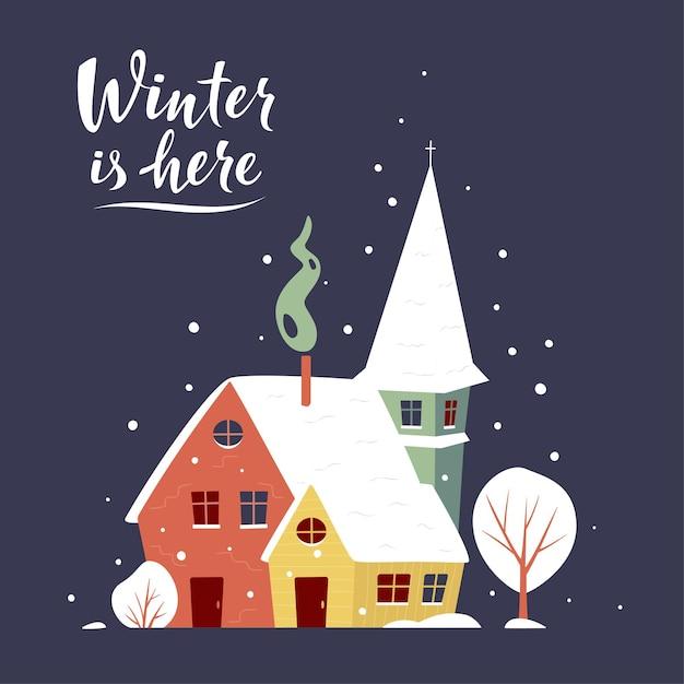 Cartão de inverno com pequena cidade coberta de neve Vetor Premium