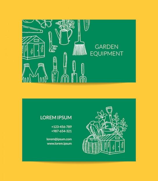 Cartão de jardinagem dos ícones do doodle Vetor Premium
