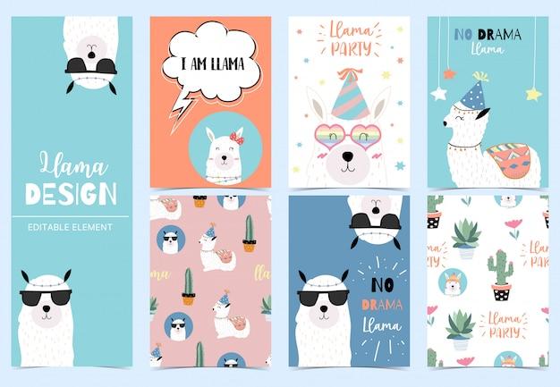 Cartão de lhama fofo para criança Vetor Premium