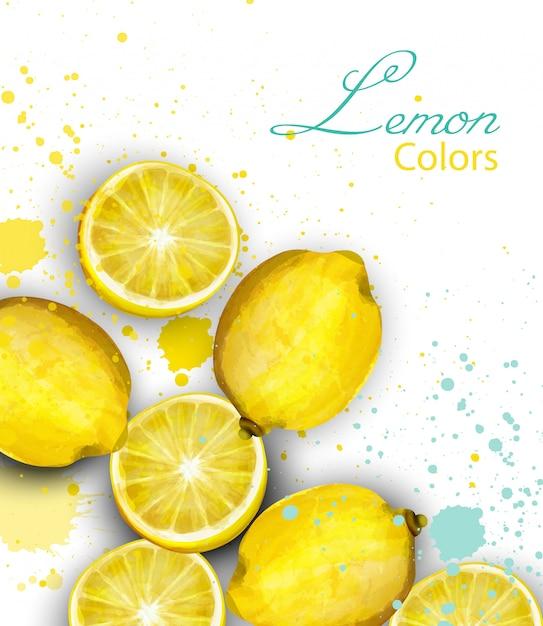 Cartão de limões em aquarela Vetor Premium