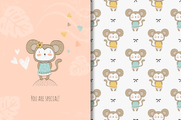 Cartão de macaco dos desenhos animados e padrão sem emenda Vetor Premium
