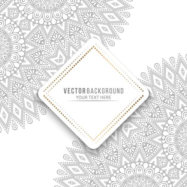 Cartão de mandala ou convite com elementos decorativos vintage Vetor Premium