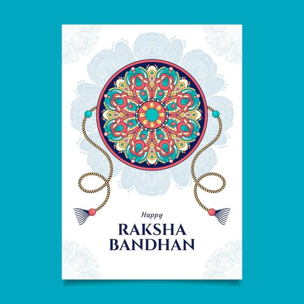 Cartão de mão desenhada raksha bandhan Vetor grátis