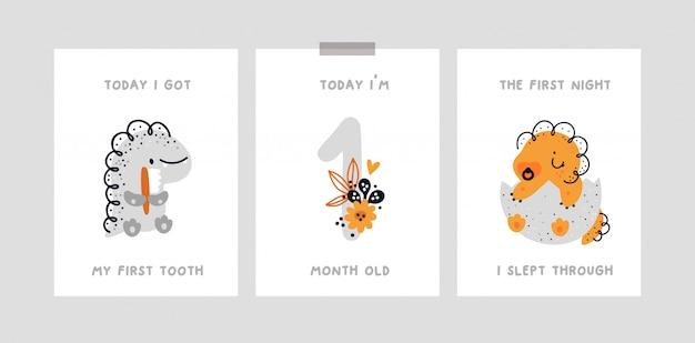 Cartão de marco do bebê com dinossauro fofo. cartão de aniversário do mês de bebê. chá de bebê Vetor Premium
