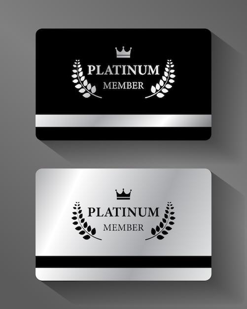 Cartão de membro vip platinum vector platina e preto Vetor Premium