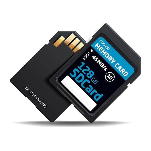 Cartão de memória de vetor sd para vários dispositivos Vetor Premium