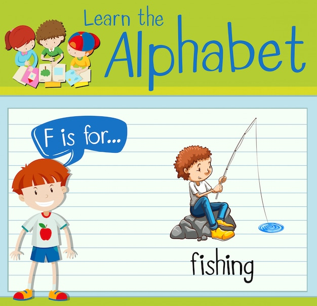 Cartão de memória letra f é para pesca Vetor grátis