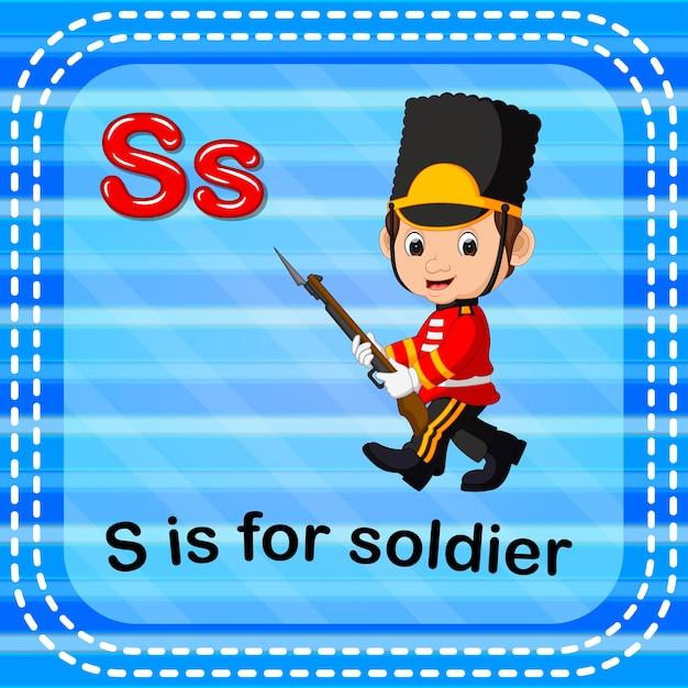 Cartão de memória letra s é para soldado Vetor Premium