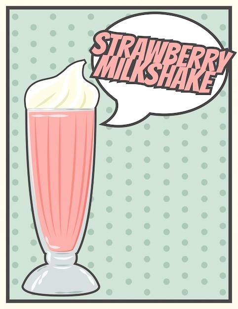 Cartão de milkshake Vetor Premium