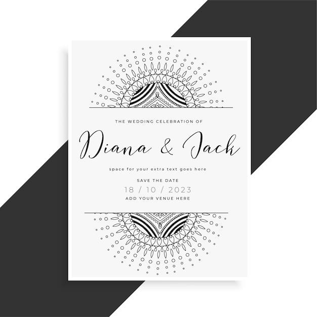 Cartão de modelo de casamento estilo mandala para convite Vetor grátis