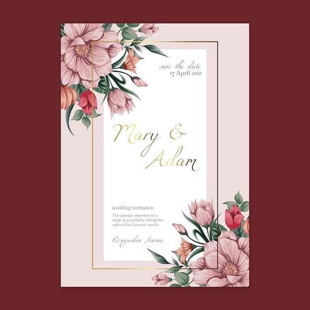 Cartão de modelo de casamento floral Vetor Premium