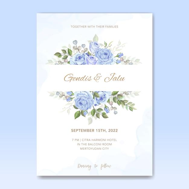 Cartão de modelo de convite de casamento com flores Vetor Premium