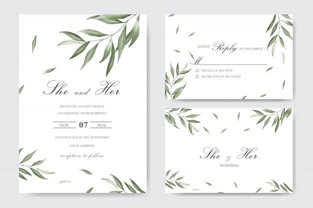 Cartão de modelo de convite de casamento elegante folhagem aquarela Vetor Premium