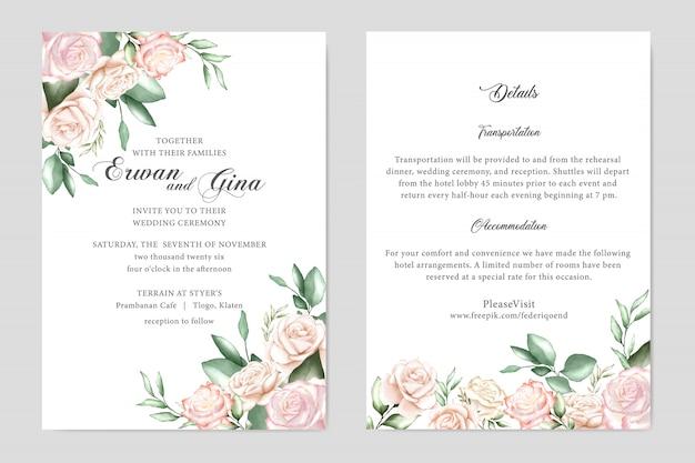 Cartão de modelo de convite de casamento em aquarela Vetor Premium