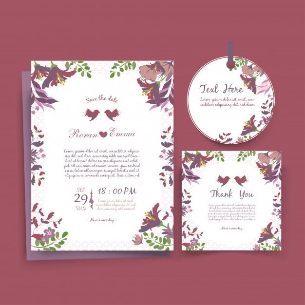 Cartão de modelo de convite de casamento em aquarela. Vetor Premium