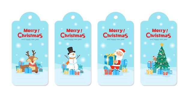Cartão de modelo de feliz natal com presentes de papai noel Vetor grátis
