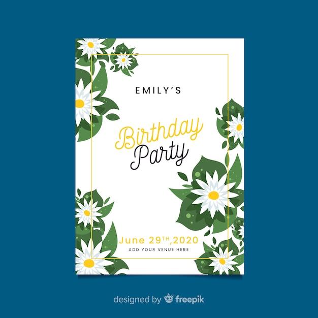 Cartão de modelo para festa de aniversário Vetor grátis