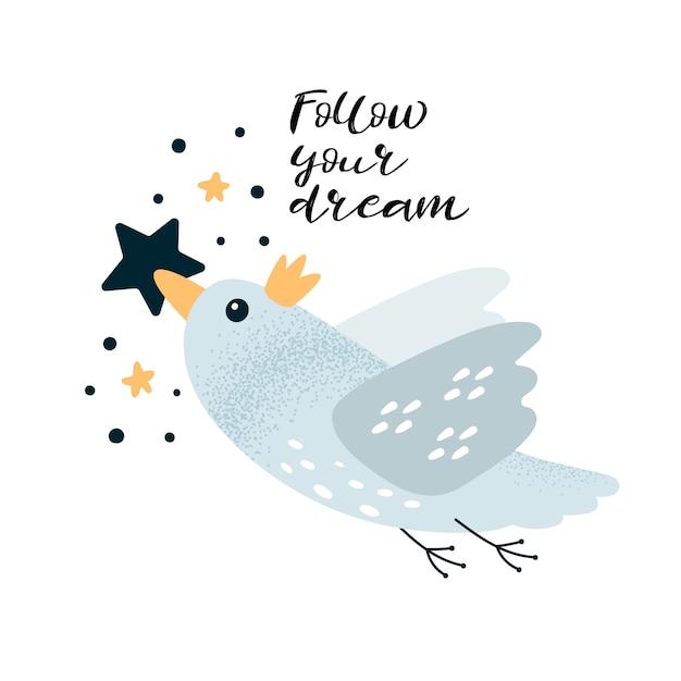 Cartão de motivação com pássaros e letras siga seu sonho Vetor Premium