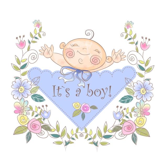 Cartão de nascimento do menino. Vetor Premium