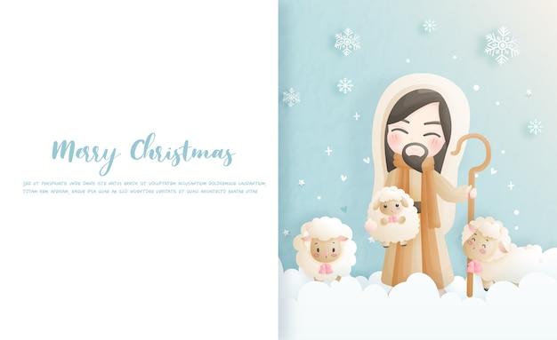 Cartão de natal, celebrações com jesus cristo e suas ovelhas, ilustração vetorial. Vetor Premium