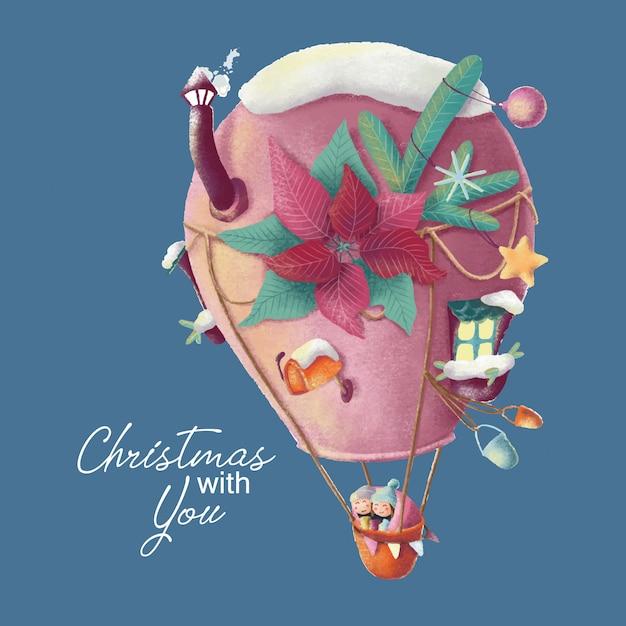 Cartão de natal com balão de desenho animado e amor caple Vetor Premium