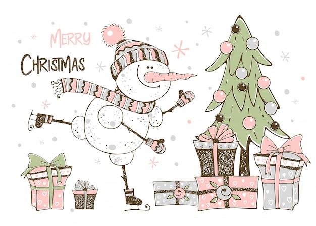 Cartão de natal com boneco de neve bonito árvore de natal e presentes. Vetor Premium