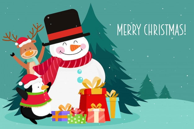 Cartão de natal com boneco de neve de natal, pinguim, pinho e renas. ilustração vetorial Vetor Premium