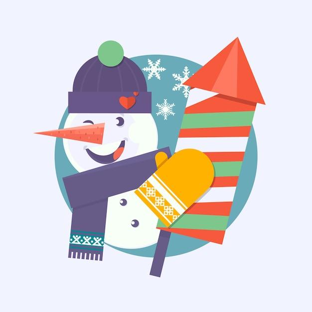 Cartão de natal com boneco de neve segurando fogos de artifício Vetor Premium