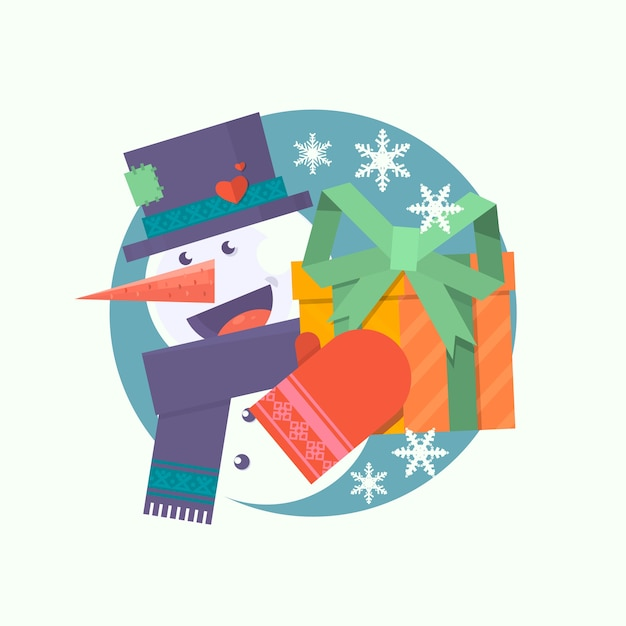 Cartão de natal com boneco de neve Vetor Premium