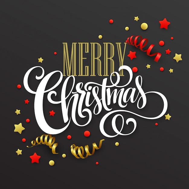 Cartão de natal com confete e fitas, cartão de felicitações Vetor Premium