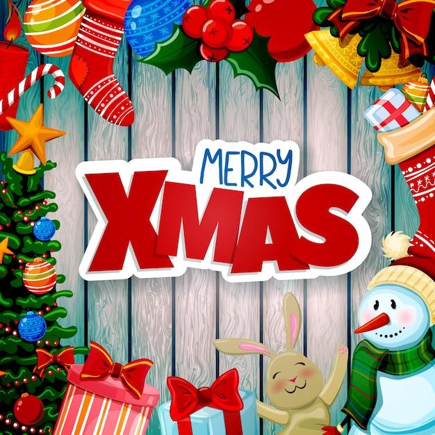 Cartão de natal com decorações Vetor Premium