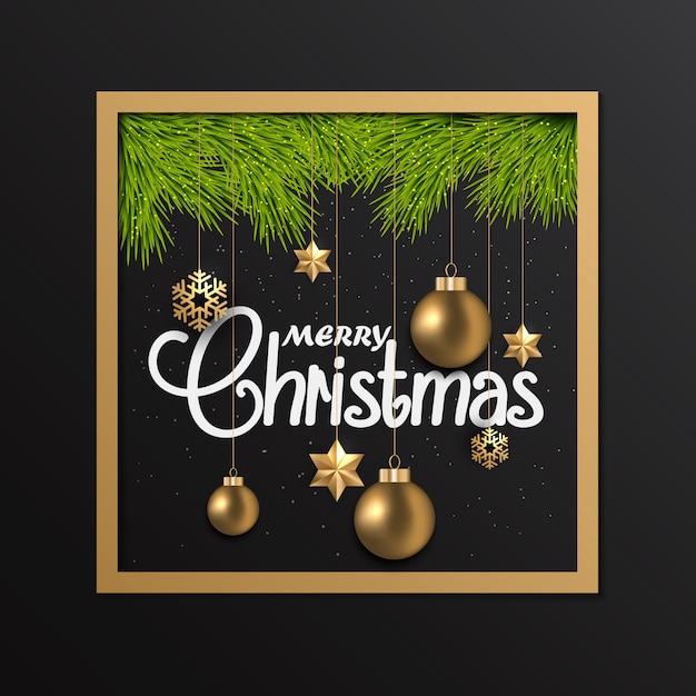 Cartão de natal com enfeites no quadro Vetor Premium