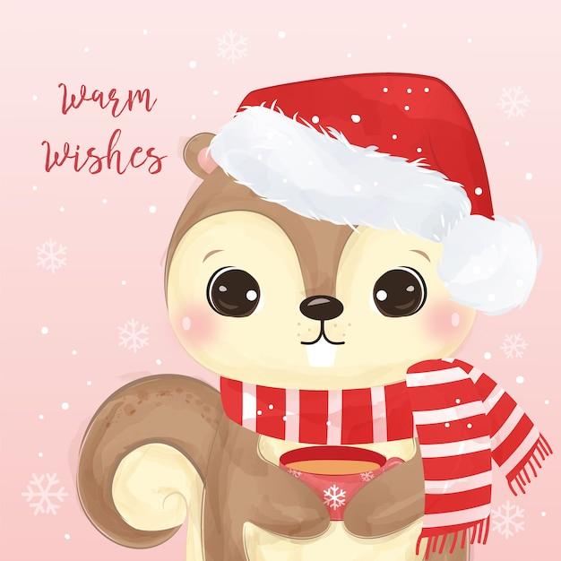 Cartão de natal com esquilo bonito segurando uma xícara. ilustração de fundo de natal. Vetor Premium