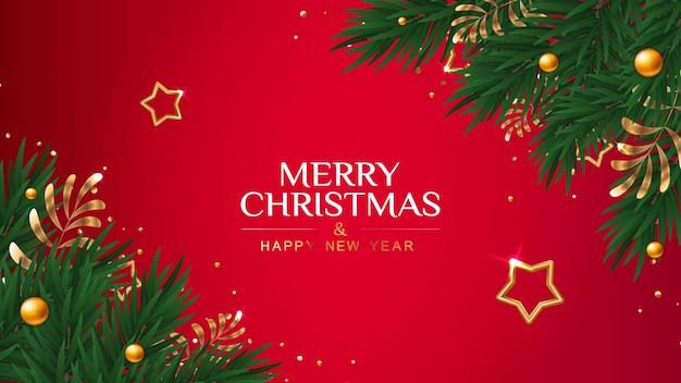 Cartão de natal com estrelas douradas e ramos de pinheiro Vetor Premium