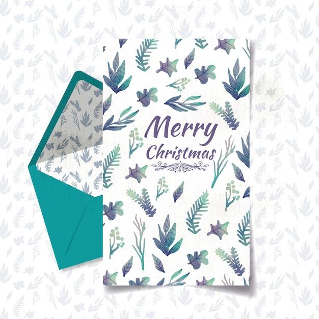 Cartão de Natal com flores da aguarela Vetor grátis