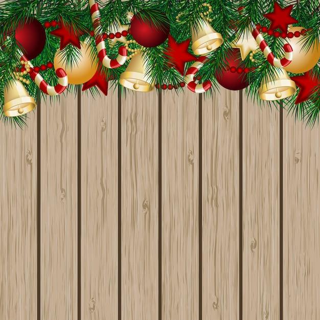 Cartão de natal com galhos de árvores de natal e bolas Vetor Premium
